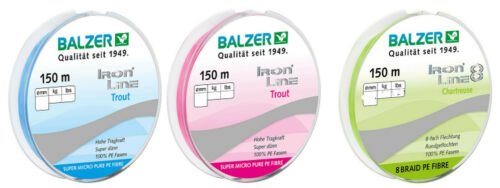 Balzer Iron Line Trout 0,04mm//0,06mm 150m Braided PE UL Cord Details about  / show original title 0,13 €//M
