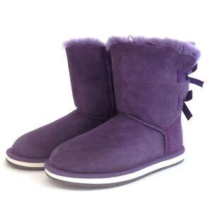 Auzland-UGG-Two-Ribbon-Sheepskin-Boots-Purple-CLEARANCE