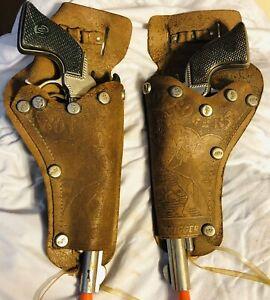 VINTAGE Roy Rogers Double Cap Gun Holster With Cap Guns No Belt