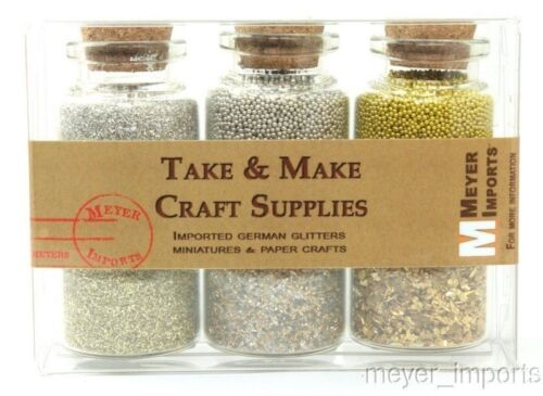 311-M-0614 German Glass Glitter Meyer Imports Gold /& Silver Sampler Set