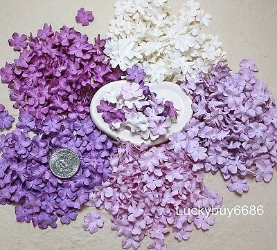 100 Mini Petal Purple Flower 20mm Scrapbook Craft Mulberry Paper Artificial