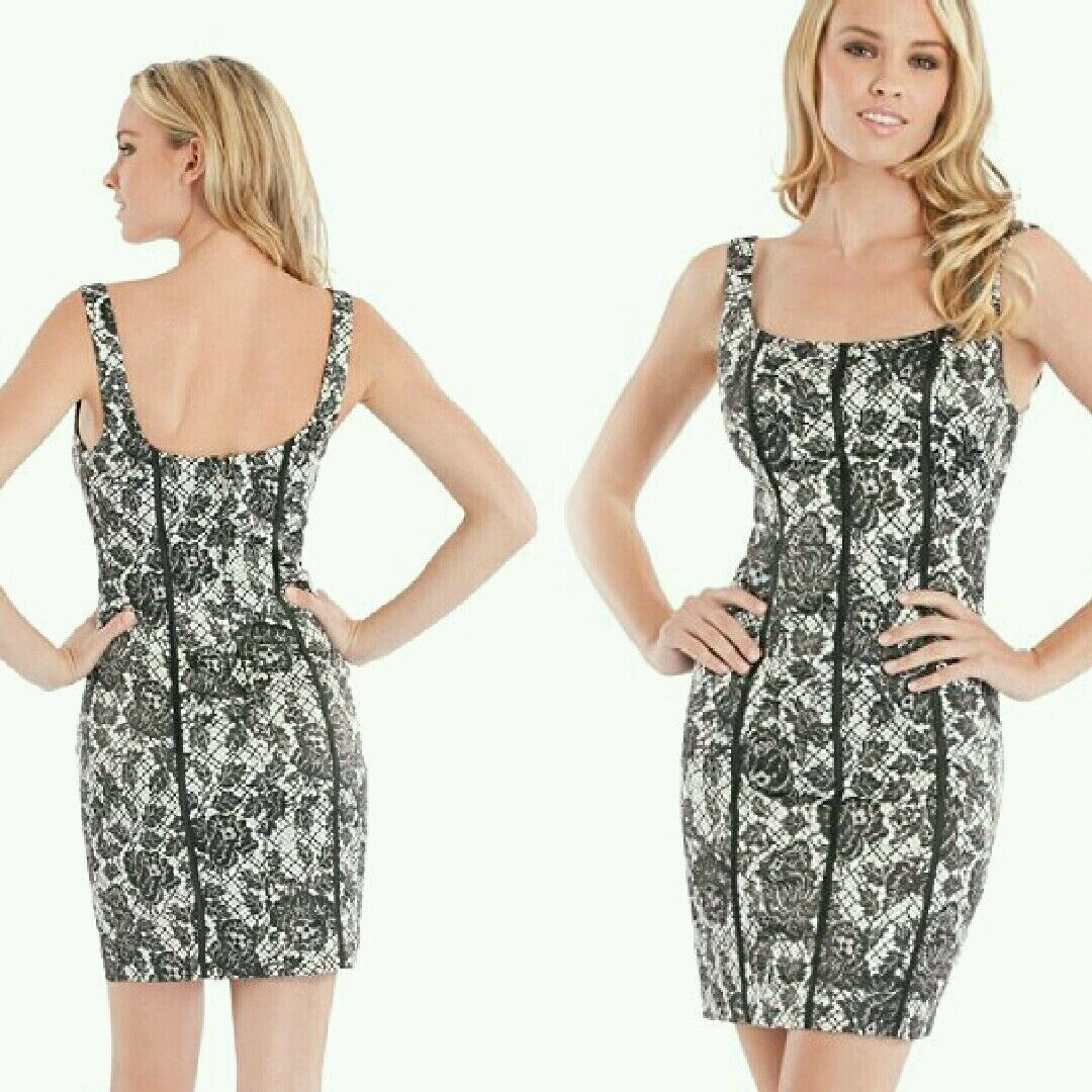 NWT GUESS Ginger Sleeveless Lace-Print Dress Größe 2