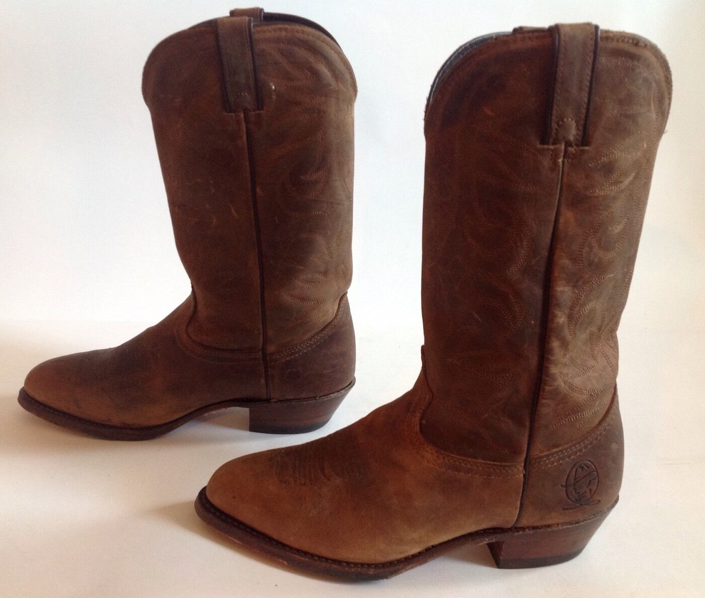 Men's Durango Brown Leather Tall Pull On Western Cowboy Boots Sz.8