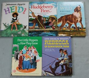 Lot-of-5-Vintage-Grosset-amp-Dunlap-Abridged-Classics-Huckleberry-Finn-Rebecca