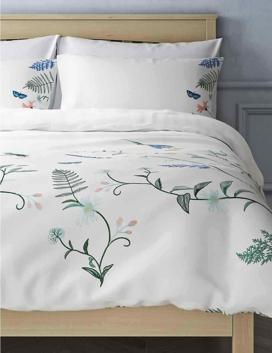 Marks & Spencer Bed Set King Botanical Embroidery Weiß Mix NEW (C1 3)