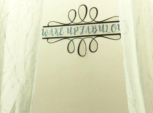 Black Teal Blue Bathroom Mirror Wall Art Decor Vinyl Removable Decal Sticker