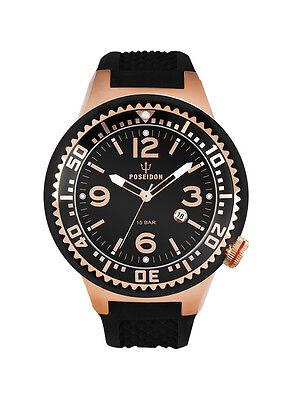 POSEIDON Unisex-Armbanduhr S Analog Silikonband UP00420 Rosé/Schwarz UVP 129,- €