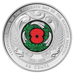 **2018 New Zealand  Armistice Coloured 50 CENTS UNC **