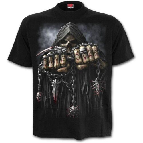 Spiral Direct GAME OVER Mens Rock//Biker//Reaper//Skull//PLUS SIZE//T Shirt//Clothing