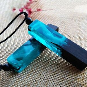 75490bae850c58 Image is loading Fashion-Simple-Handmade-Resin-Wood-Pendant-Necklace-Wooden-