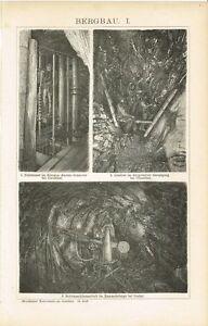 Schacht Bohrmaschine Original-holzstich 1894 Diversifiziert In Der Verpackung Erzstoss Tafel Bergbau