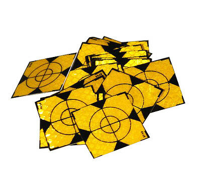 100pcs Yellow Reflector Sheet 40 x 40mm Reflective Tape Target for Total Station