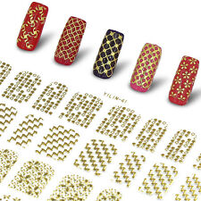 NEW 3D Nail Art Stickers 108pcs Designs Gold Color Nail Decals DIY Tips Manicure
