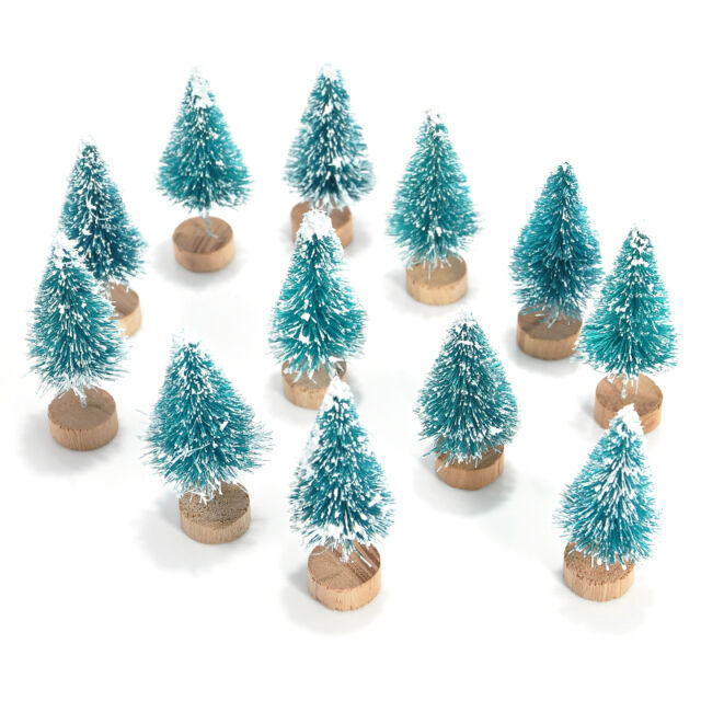 12pcs Mini Sisal Bottle Brush Christmas Trees Snow Frost Village Putz Great New