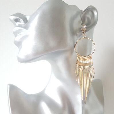 crystal drop earrings   #57 Beautiful 6cm long gold tone waterfall diamante