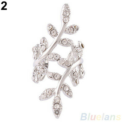 Fashion Womens Punk Rock Retro Earring Crystal Leaf Ear Cuff Warp Clip Ear Stud