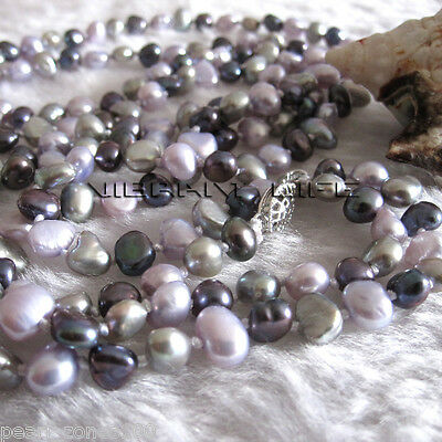"""50"""" 5-6mm Multi Color Baroque Freshwater Pearl Necklace Gray Peacock Gray-Pink A"""