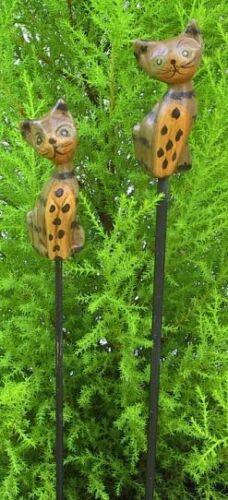 2 Pflanzenstecker Katzen Holzstecker Deko Katze Stecker Blumenstecker Holzkatzen