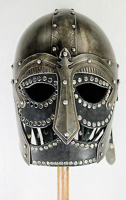 Hand-Forged Steel Viking Helmet w/Black Leather -- sca/larp/steel/helm/armor NEW