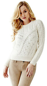 Cable Sweater Florence Chunky Off Knit Pullover Nwt Top Guess TpqZB