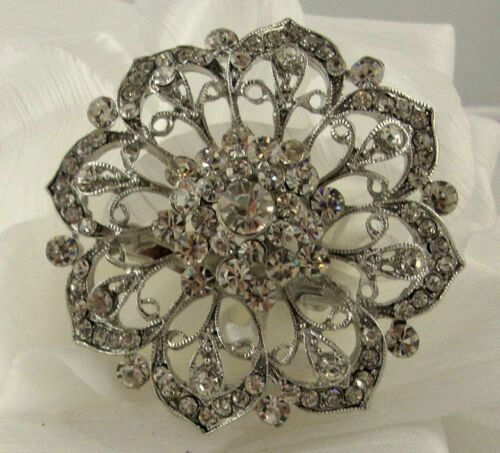 Gran aspecto Vintage Flor O Ramo Broche Diamante Cristal para Boda//Fiesta