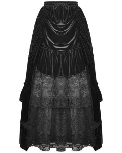 Dark In Love Gothic Bustle Skirt Long Black Velvet Lace Steampunk VTG Victorian