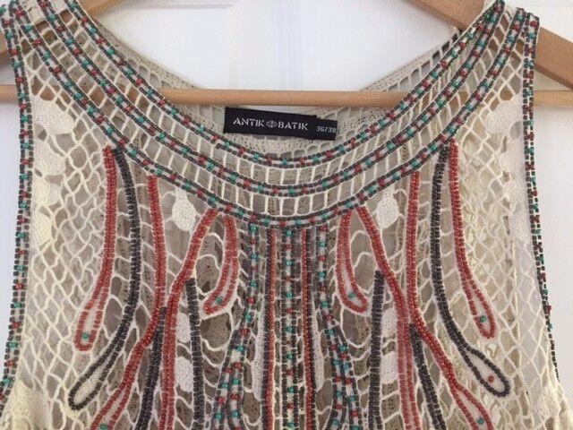 Antik Batik Beaded Top Größe 36 38