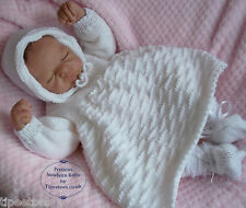 Baby Knitting Pattern DK #58 TO KNIT Dress Hat Bootees Headband Reborn Dolls