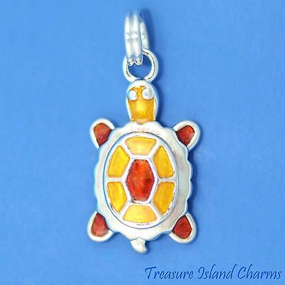 RED AND YELLOW ENAMEL SEA TURTLE TORTOISE 3D .925 Sterling Silver Charm