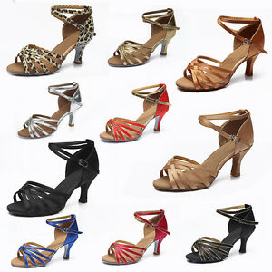 Women-Girl-lady-039-s-Ballroom-Tango-Latin-Dance-Dancing-Shoes-heeled-Salsa-11-Color
