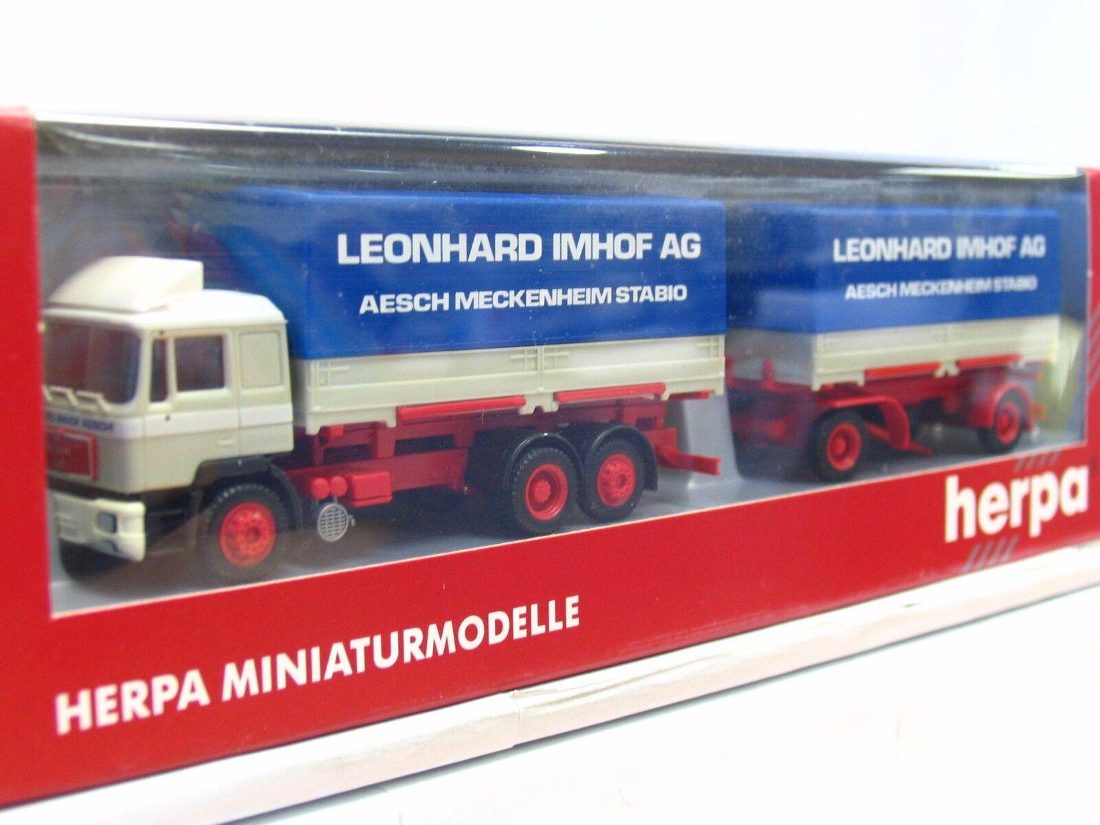 HERPA 1 1 1 87 man wechselpritschenhängerzug Leonard Imhof AG neuf dans sa boîte (tr9232) f1b112