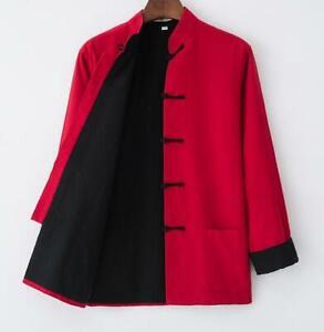 a1dcfa5737 Coats   Jackets Men Traditional Chinese Tang Suit Coat Kung Fu Tai Chi  Uniform Jacket Long size