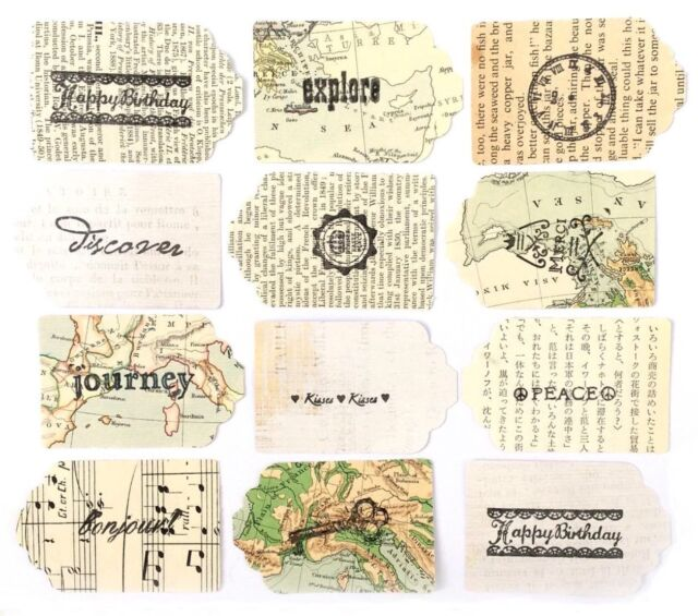 12 Pack Vintage Ephemera Tags With Sentiments For Cardmaking Travel Craft Topper
