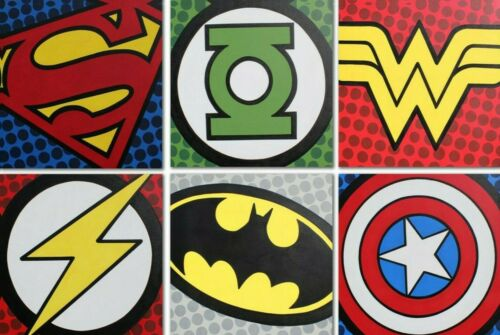 Canvas Pictures Marvel And Dc Comics Large Poster Superhero Badges Logo/'s