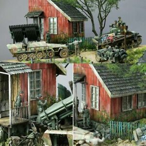 1-35-Scale-Dioramas-Ruins-House-Models-Kits-Wood-WW2-Military-Sand-Building-DIY