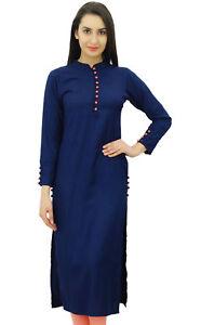 Bimba-Women-Casual-Plain-Blue-Kurta-Indian-Ethnic-Rayon-Kurti-Designer-Tunic