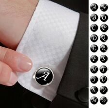 Single Black A-Z Men?s Letter Initial Cufflink Alphabet Stainless Steel Wedding