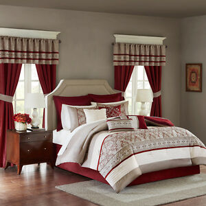 Deluxe-Red-White-Taupe-Comforter-Window-Curtains-24-pcs-set-Cal-King-Queen-New