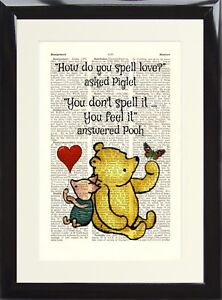 Dictionary Art Print Winnie The Pooh How Do You Spell Love Picture