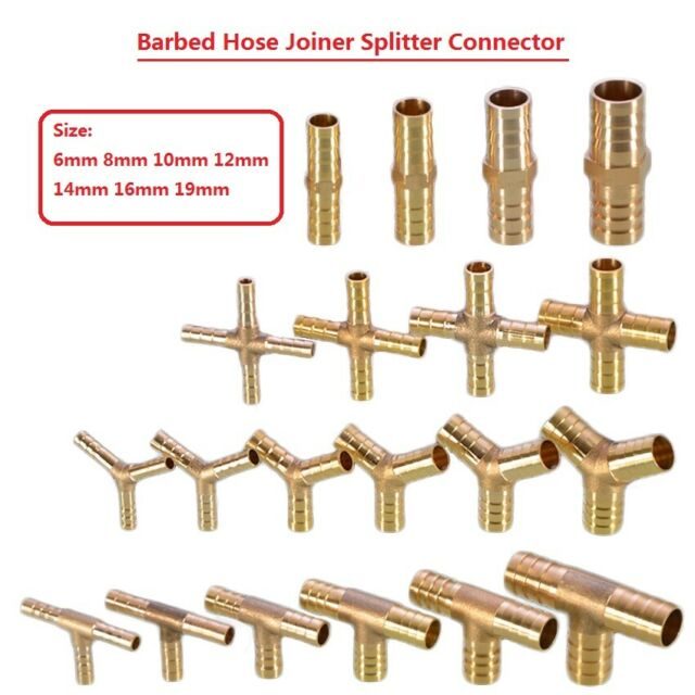 Brass Hose Barb Cross Fitting Hose ID 6 mm for air water air fuel