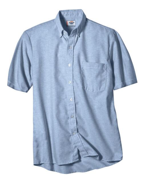 Dikies Mens Blue Oxford Shirt Button Down Short Sleeves Sizes 14.5  to 19.5