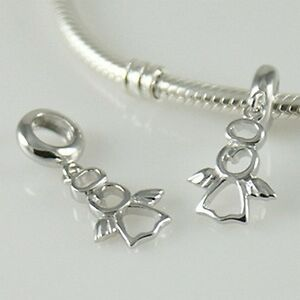 ANGEL-w-halo-Christmas-Solid-925-sterling-silver-European-charm-bead-Pendant