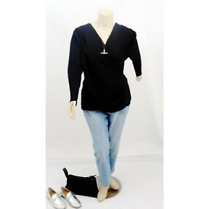CITY CHIC Black Ruched Long Sleeve Top | Plus Size: XS (14)