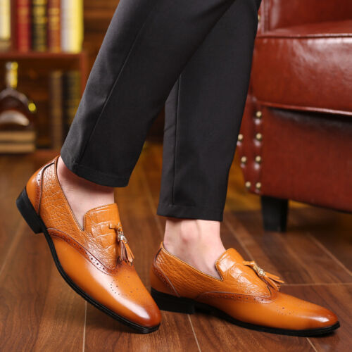 Details about  /New Men Business Leisure Leather Shoe Pointy Toe Oxfords Slip on Low Top Party D