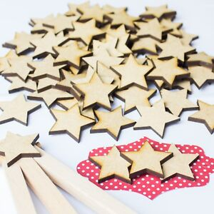 100 x 3cm / 30mm WOODEN STARS - LASER CUT CHRISTMAS STAR MDF WOOD CRAFT SHAPE