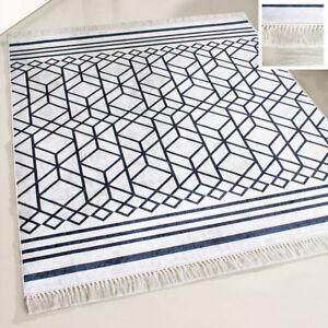 Teppich Kurzflor Waschbar Modern Designer Schwarz Weiss Boho Anti
