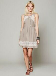 NWT-FREE-PEOPLE-Georgia-Lace-Detail-Dress-in-Tea-Neutral-Size-2-XS-Small