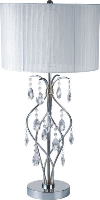 New 31 H Chrome Faux Crystal Spiral Table Lamp With White Fabric Shade