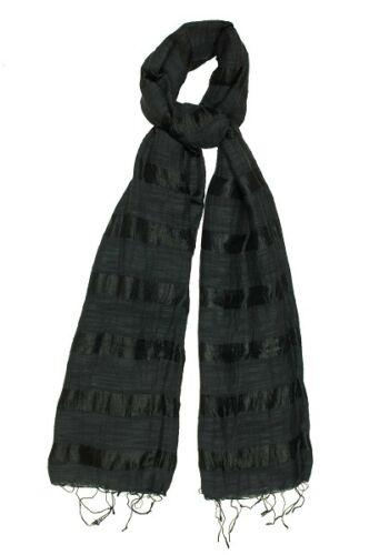 Fair Trade BNWT 180cm x 80cm Classic Black Silk and Linen Stripe Scarf