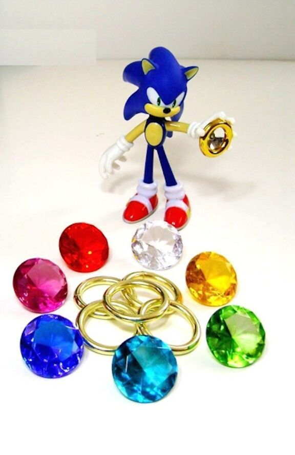 LARGE  7 Chaos Emeralds & 5 Power Rings -Sonic the Hedgehog Series